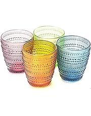 TIMEFOTO Old Fashioned Glass 10 oz Drinking Glasses Set of 4,Beverage Glasses Vintage Cocktail Glassware for Water,Juice,Beverage,Liquor,Barware