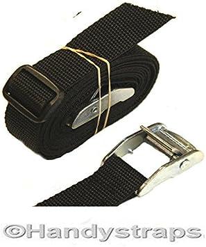 2 x  Nylon Tie Down Straps Cam Buckle Wrap Band luggage Strap Black UK