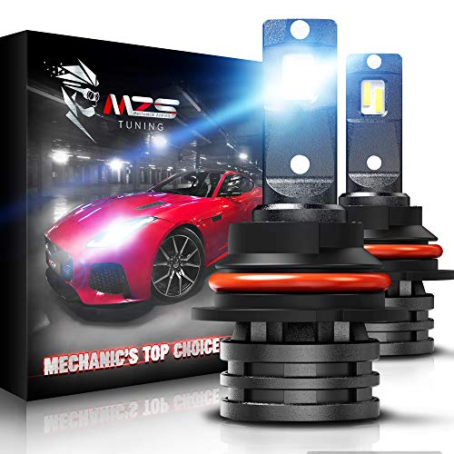 MZS Mini 9007 LED Headlight Bulbs,10000LM 6500K Cool White CREE Chips All-in-One Conversion Kit w/360 Degree Adjustable Beam