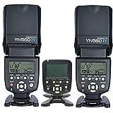 YONGNUO 2x YN560 IV +1x560TX/N+2x Gift Battery Case YN-560IV Wireless Flash Speedlite & YN560-TX LCD Flash Trigger Remote Controller for Nikon Cameras & YN560-III with Wake-Up Function