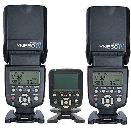 YONGNUO 2x YN560 IV +1x560TX/N+2x Gift Battery Case YN-560IV Wireless Flash Speedlite & YN560-TX LCD Flash Trigger Remote Controller for Nikon Cameras & YN560-III with Wake-Up Function by Yongnuo