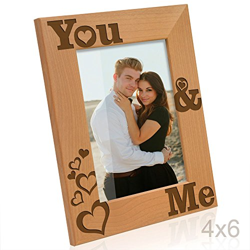 Kate Posh - You & Me - Engraved Natural Solid Wood Picture Frame and Wall Decor - Wood 4 You