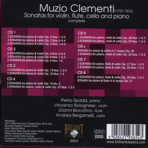 Clementi: Sonatas for Violin, Flute, Cello & Piano (Complete)