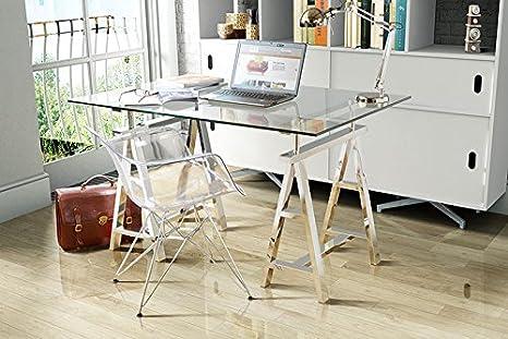 My-Furniture AIRA Scrivania a Cavalletto in vetro e gambe in ...