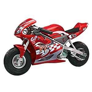 Pocket Rocket 24 V Kids Mini Bike 15 MPH Ride On Electric Motorcycle, Red With Ebook