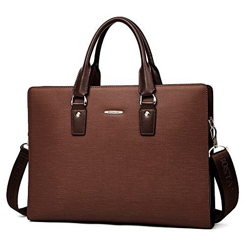 BOSTANTEN Leather Lawyers Briefcase Shoulder Laptop Business Slim Bags for Men & Women Coffee