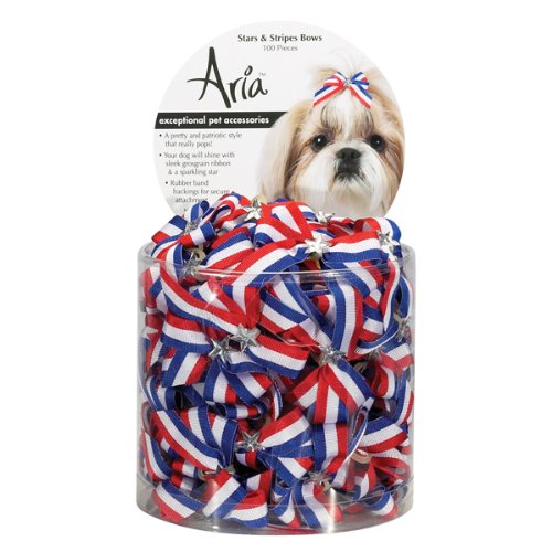 Aria Poly Ribbon Stars and Stripes Dog Bows Canister, 1-3/4-Inch, 100-Pack, My Pet Supplies