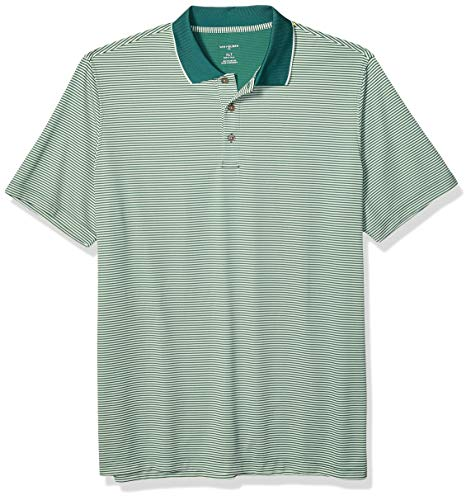 Van Heusen Men's Big Short Sleeve Air Performance Ottoman Stripe Polo Shirt, Green Mantis, X-Large Tall ()