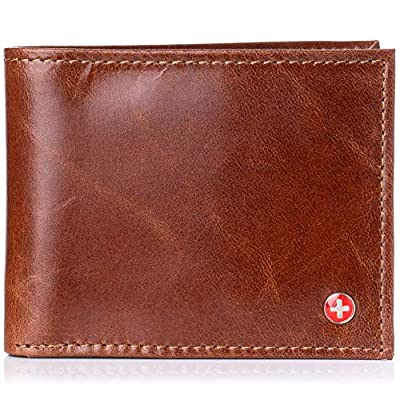 Alpine Swiss Mens RFID Blocking Leather Multi Card High Capacity Bifold Wallet