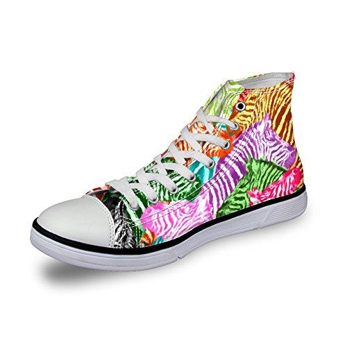 For U Design Kvinner High-top Lerret Sko Tropisk Floral Motiv Blonder-up Ankel Joggesko Sebra