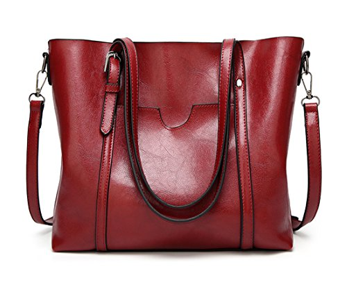 Vino Donna Capacità Semplice rosso Borse rosso Pu in Vino Grande Pelle Panzexin 81aqw1