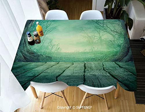 Vinyl tablecloth Spooky Scary Dark Fog Forest with Dead Trees and Wooden Table Halloween Horror Theme Print (60 X 84 inch) Great for Buffet Table, Parties, Holiday Dinner, Wedding & More.Desktop deco]()