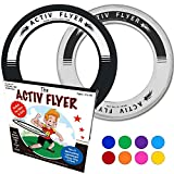 "Best Kid's Frisbee Rings [Black/White] Fly Straight & Don't Hurt - 80% Lighter Than Standard Frisbees - Replace ""Screen Time"" with Healthy Family Fun Time - Get Outside & Play! - Made in USA (2 Pack)"