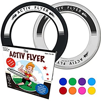 """Best Kid's Frisbee Rings [2 PACK] Fly Straight & Don't Hurt - 80% Lighter Than Standard Frisbees - Replace """"Screen Time"""" with Healthy Family Fun Time - Get Outside & Play! - Made in USA (Black/White)"""