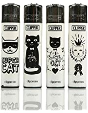 Gas refillable normal flame large lighter set of four Cats