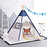 Mogicry Simple Boy Girl Indian Child Tent Princess Castle Split Bed Artifact Indoor Outdoor Stripe Decoration Cotton Canvas Teepee Gift Birthday Present for Kids 1+