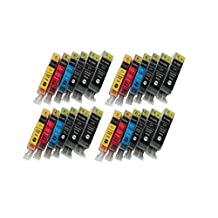 24 Pack - Compatible High Yield Ink Cartridges for PGI-220 CLI-221 PGI220 & CLI221 (Black, Cyan, Magenta, Yellow) Works With Following Printer Models: Canon PIXMA IP3600, IP4600, MP620, MP980, MX860, MP560, IP4700, MP640, MP990, MX870, MP640R, MP620B by Forlei® Products