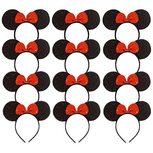 DH Minnie Mouse Baby Girls Sequins Headbands Sequins Bow Sparkle Headbands -12 pcs ()
