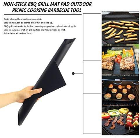 Sanzenling 2 pcs Réutilisable Pas de Bâton Barbecue Grill Tapis Cuisson Facile Propre Griller Feuille Frite Portable Pique-Nique en Plein Air Cuisson Barbecue Outil