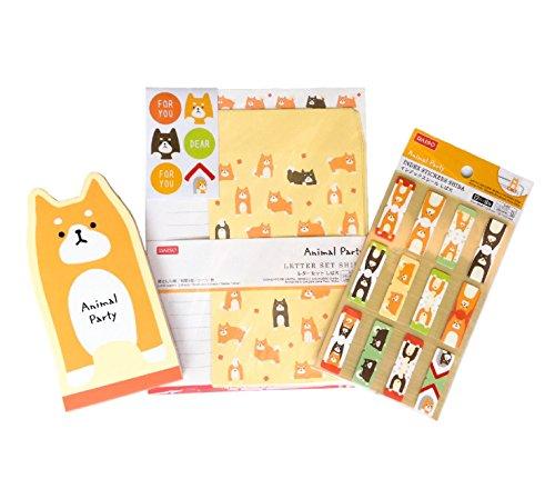 Animal Party Cute Japanese Dog SHIBA Collection (Stationery Paper Envelope Seal Set / Bookmark Index Tabs / Memo Pads) Yellow Orange 3 PCS