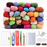 Wool Needle Felting Kit Beginner - Wool Roving Set - 36 Colors Wool Fibre DIY Craft Materials with Tool Kits