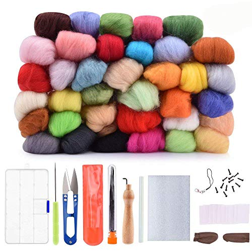 Wool Needle Felting Kit Beginner - Wool Roving Set - 36 Colors Wool Fibre DIY Craft Materials with Tool Kits by AFDEAL