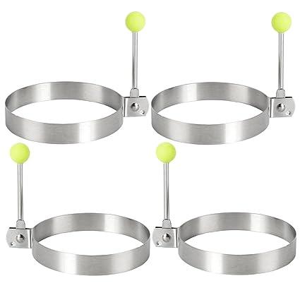 Enjoygoeu 4PCS Antiadherente Huevo Moldes Acero Inoxidable para Huevos Fritos Anillos Pastelitos para Cocinar al Freír