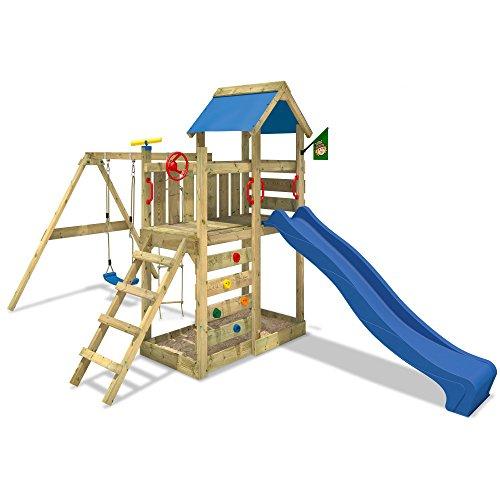 WICKEY Spielturm MultiFlyer mit Rutsche + Schaukel in blau - Stelzenhaus Klettergerüst Sandkasten