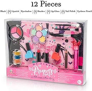 Ucradle 26 St/ück Kinderschminke Set M/ädchen Pretend Princess Play Makeup Set Friseurspielzeug mit Haartrockner Spiegel Schminkkoffer M/ädchen Rollenspiel Spielzeug ab 3 Jahre M/ädchen Geschenk