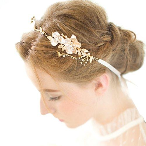 FAYBOX Bridal Headband Gold Leaf Themed Crystal Pearl Wedding Hair Accessories