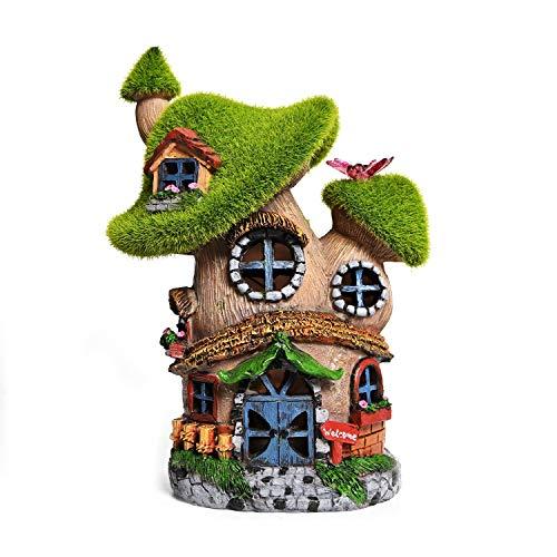 ASAWASA Flocked Mushroom Fairy House Solar Garden Statues and Sculptures Outdoor Decor,Fairy Garden Cottage Figurines…