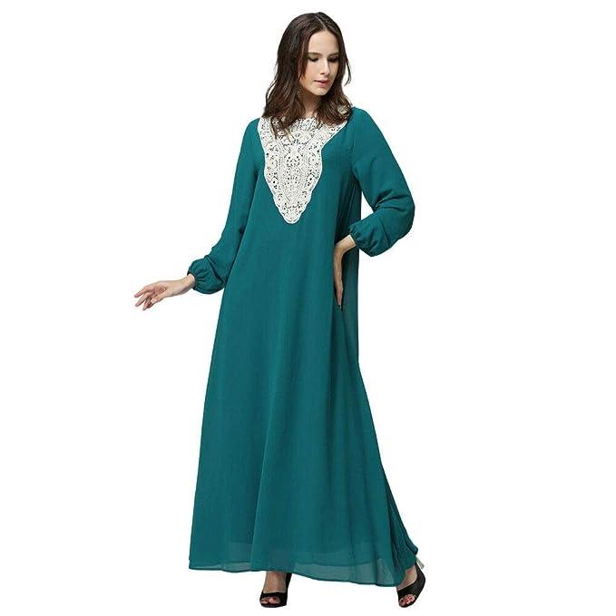 52bd310b607c Meijunter Abito da Donna Musulmana - Vestito a Maniche Lunghe Arabo Abaya  Islamico Abbigliamento Etnico