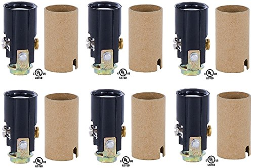 (Creative Hobbies 10025 Candelabra Base Keyless Phenolic Socket, 1-1/2 Inch High Overall, 1/8 IP Female Mounting Bracket, Pack of 6)