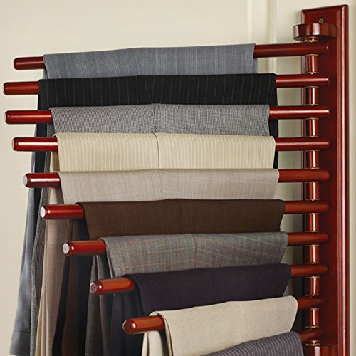 Hammacher Schlemmer The Closet Organizing Trouser Rack (Cherry Oak Swing)