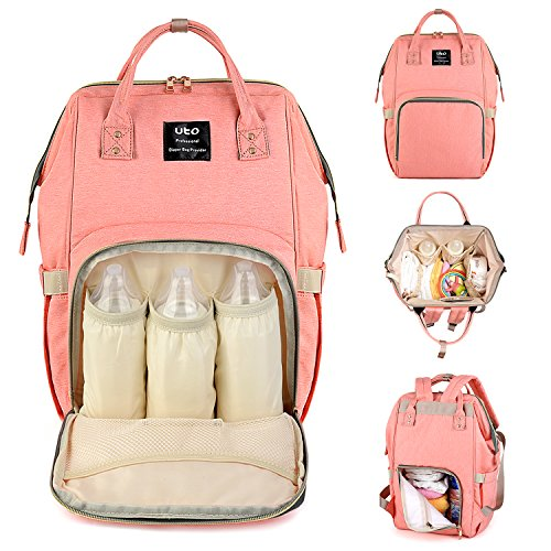 UTO Diaper Bag Multi-Function Large Capacity Waterproof Nylon Oxford Fabric Backpack Mommy Bags for Baby Care Travel Outdoor Rucksack (Handbag Tag)