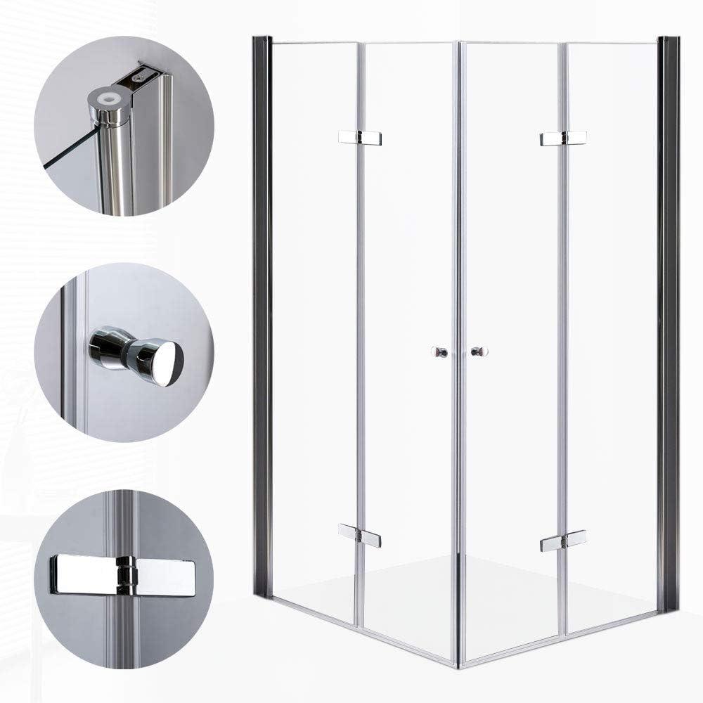 Sanlingo Cristal puerta plegable ducha cabina plegable Mampara ducha puerta de ducha Ducha Pared esquina. 3 anchuras a elegir, 80, 90, 100 x 190 cm: Amazon.es: Bricolaje y herramientas