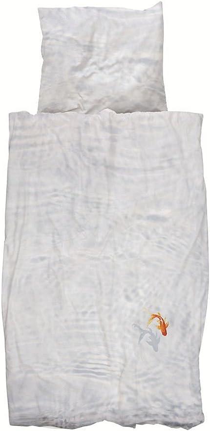 Juego de cama funda nórdica de algodón percal 80 hilos, 100% algodón, diseño de pez de color rojo, 140 x 200 cm, 1 funda de almohada de 65 x 65 cm: Amazon.es: Hogar