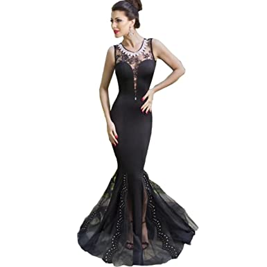 Chady Sexy Charm Black Tulle Lace Applique Mermaid Prom Dresses 2017 Long Backless Evening Dresses Long