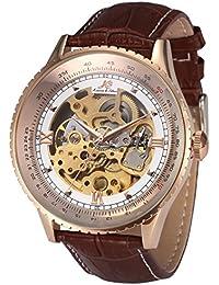 Royal Carving Skeleton Men's Rose Gold Case Auto Mechanical Brown Leather Watch KS113