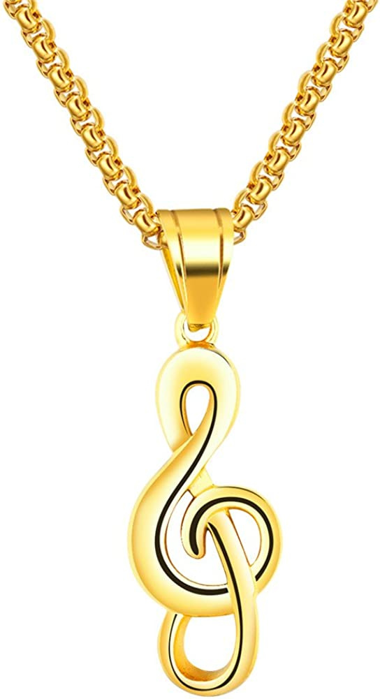 PAURO Men's Stainless Steel Hip Hop Musical Note Charm Pendant Necklace Gift for Music Lovers