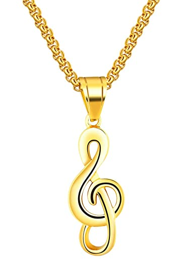 Pauro mens stainless steel hip hop musical note charm pendant pauro mens stainless steel hip hop musical note charm pendant necklace gift for music lovers golden aloadofball Choice Image