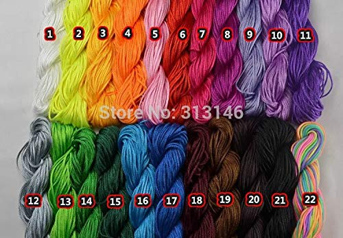(sandywident 22pcs 1.0mm Macrame Nylon Cord Kumihimo Beading Shamballa Braided Bracelet Chinese Knot Hand Craft Rope String Thread Wire Rope(Multi-Color,one Size))