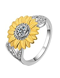 JJWW Women's Sunflower AAA Zircon Inlaid Silver Gold Two Tone 15.4mm Wide Ring