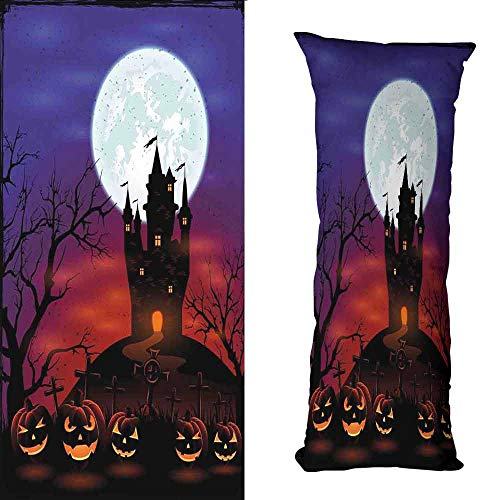 duommhome Halloween Creative Pillowcase Gothic Haunted House Castle Hill Valley Night Sky October Festival Theme Print Soft and Durable W15.7X L23.6 inch Multicolor -