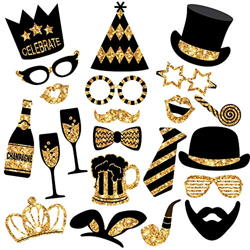 Gold Photo Booth Props (No Glitter) - Mix of Hats, Lips, Mustaches, Crowns and More (22 pcs) - Durable and Vibrant - Perfect for Birthday Parties, Weddings and More -