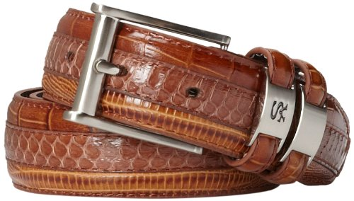 Crocodile Belt (Stacy Adams Men's 35mm Genuine Snakeskin With Leather Embossed Crocodile And Lizard Belt, Cognac,)