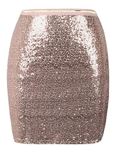 (PrettyGuide Women's Sequin Skirt Sparkle Bodycon Mini Skirt Clubwear Cocktail Dress L Rose Gold)