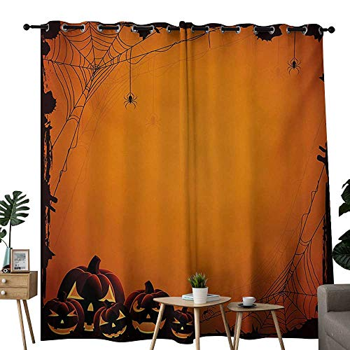 (NUOMANAN Decor Curtains by Halloween,Grunge Spider Web Jack o Lanterns Horror Time of Year Trick or Treat Print,Orange Seal Brown,Wide Blackout Curtains, Keep Warm Draperies, Set of 2)