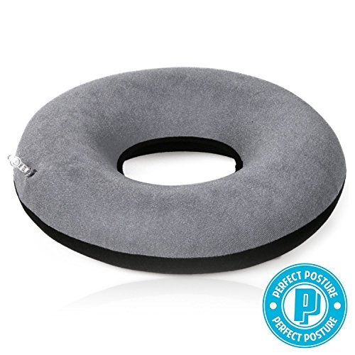 Inflatable Donut Seat Cushion: Doctor Recommended for Hemorrhoid Treatment, Bed Sores, Coccyx & Tailbone Pain, Premium CoolTec Fabric, with Pump and Travel Bag Included, 15