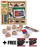 Melissa & Doug Dinosaur: Wooden Stamp Set + FREE Scratch Art Mini-Pad Bundle [16339]